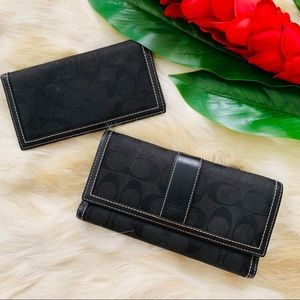COACH Wallet with matching checkbook black logo C